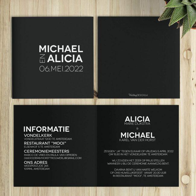 Abstracte trouwkaart bestaat uit een minimalistisch, typografische vormgeving waarbij rechte lijnen en een sterk kleurcontrast centraal staan. Op de foto staan voor, achter en binnenzijde.