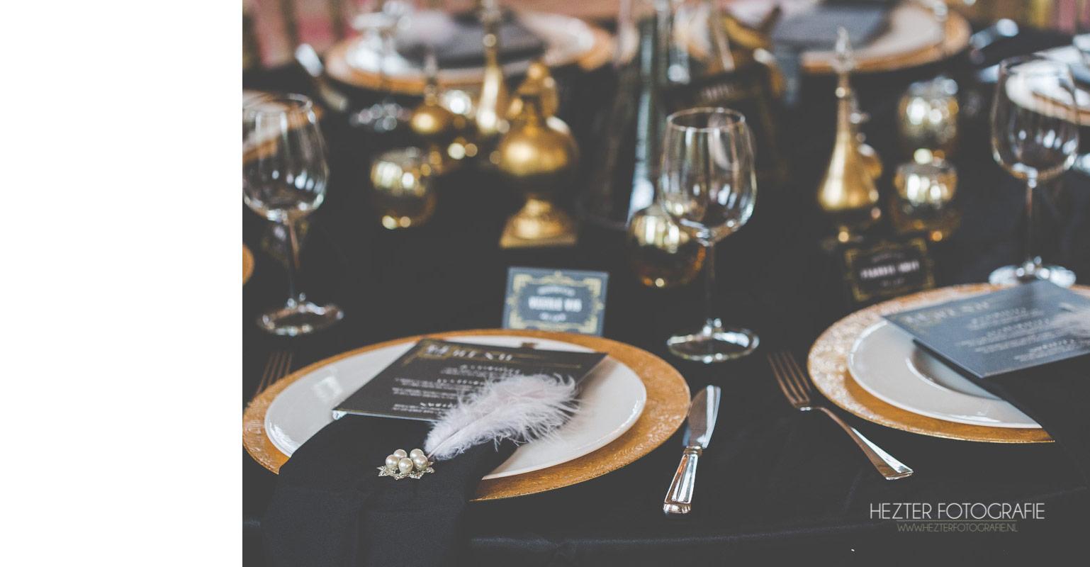 Menukaart Great Gatsby voor de trouwdag, past bij de trouwkaart Great Gatsby. Art Deco stijl.