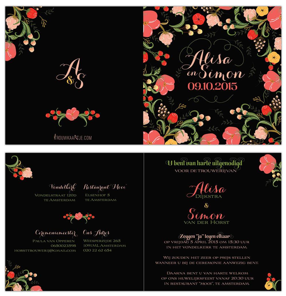 Trouwkaart Bloemen - zwarte achtergrond, kleurrijke bloem illustraties