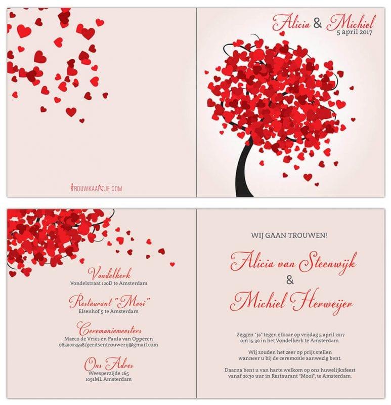 Vrolijke, romantische boom met allerlei rode hartjes als blaadjes. Trouwkaart Hartjes Boom is in moderne, romantische stijl vormgegeven. Voor- en achterkant van de trouwkaart.
