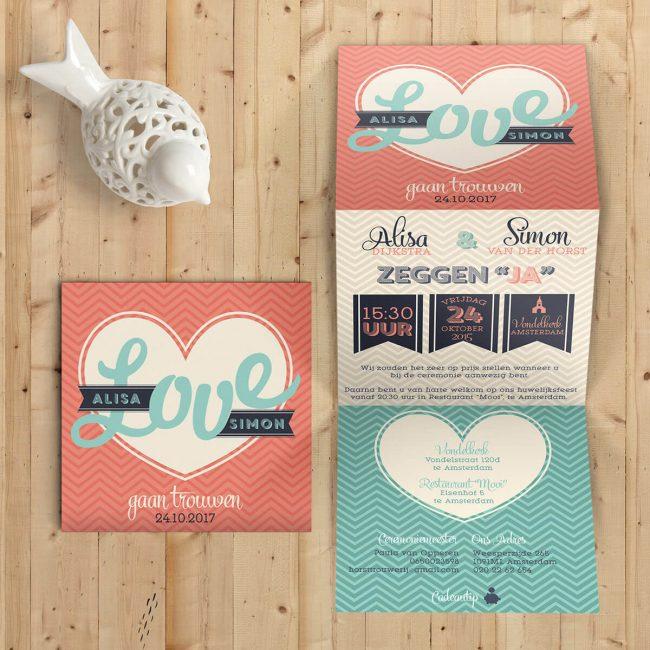 Deze bijzondere trouwkaart is tot in detail vormgegeven; modern en eigentijds, trouwkaart Love maakt een statement. Typografische stijl met als thema love.