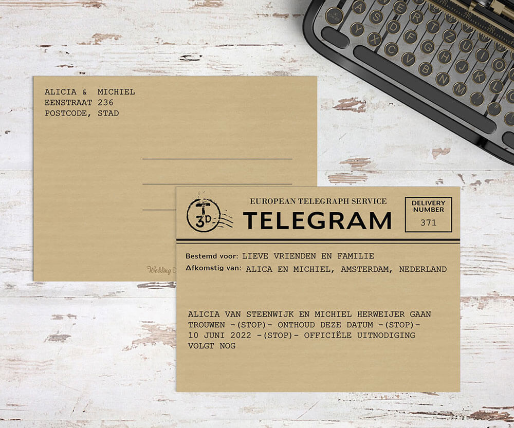 Trouwkaart Telegram nu met bijpassend ontwerp als save the date kaartje