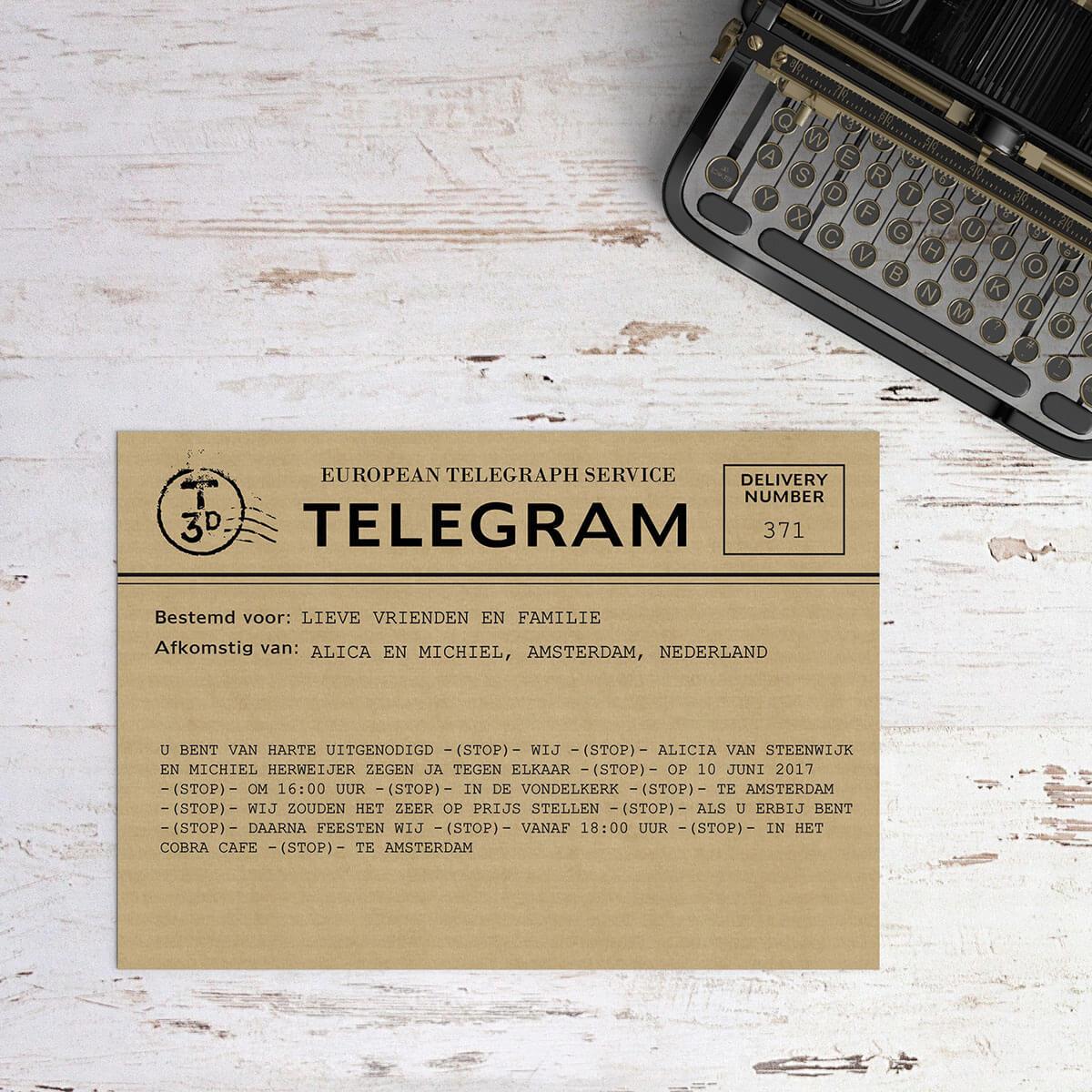 Trouwkaart Telegram biedt een originele en grappige manier om gasten uit te nodigen. Met de tekst zelf, inclusief veel STOP-woorden, kun je alle kanten op.
