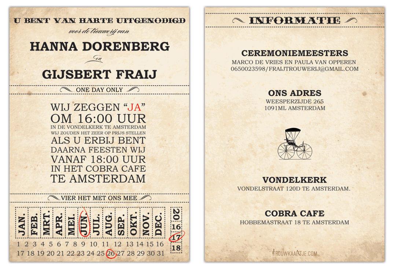 Trouwkaart Ticket: Voor- en achterkant naast elkaar.