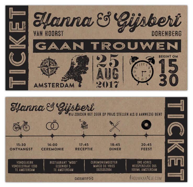 Trouwkaart Ticket op kraftpapier, een ontwerp in vintage ticket stijl met leuke icoontjes-tijdlijn. Afbeelding laat beide zijden zien.