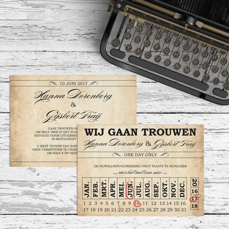 Trouwkaartje Ticket is vormgegeven volgens authentieke oude tickets, om een mooie, vintage stijl en sfeer neer te zetten. Beide zijden zijn te zien in deze afbeelding.