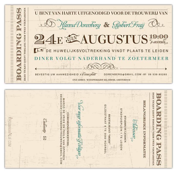 Trouwkaart Vintage Toegangsbiljet, een retro ontwerp met allerlei typografische elementen