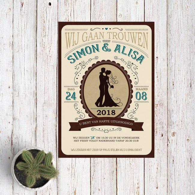 De vormgeving van deze Western trouwkaart is geïnspireerd door ouderwetse stijlen uit het Wilde Westen: de lettertypes, typografie, de kleuren en stijl van illustraties.