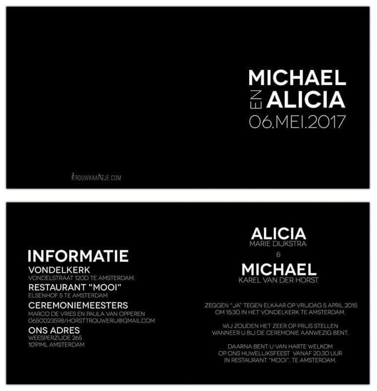 Zwart-wit ontwerp - Abstracte trouwkaart, met een rechthoekig monogram van witte letters en cijfers op voorkant.