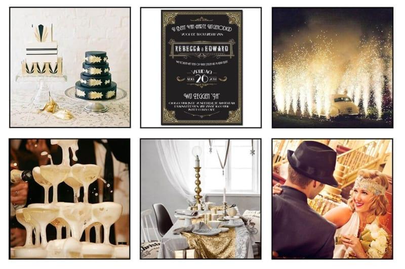 Moodboard voor trouwstijl rondom trouwkaart Great Gatsby