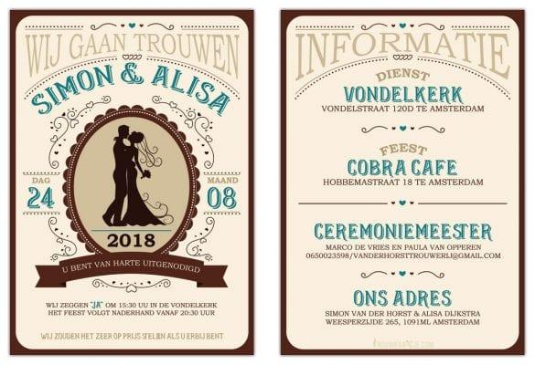 Voor- en achterkant van Western trouwkaart. Bruin, blauw en beige, met sierlijke frutsels en apart lettertype.