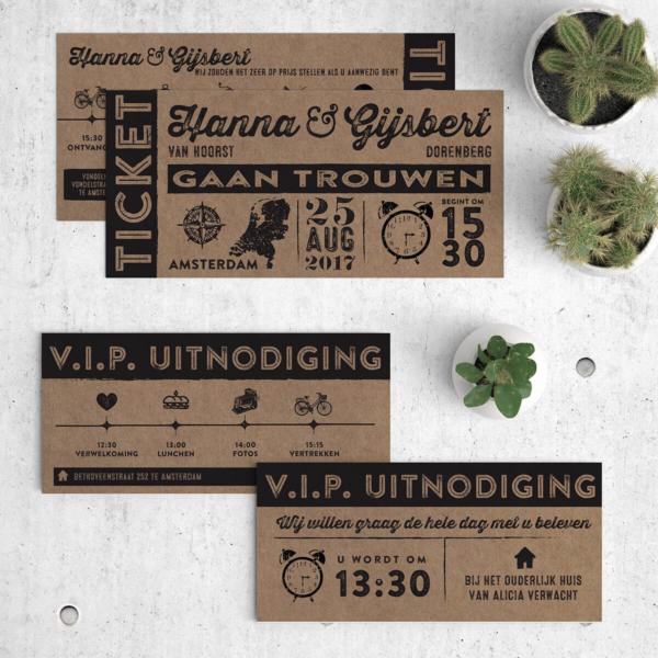 Deze trouwkaart Ticket op kraftpapier heeft ook een leuk bijpassend inlegvel, een VIP kaartje. Afbeelding toont gehele set.