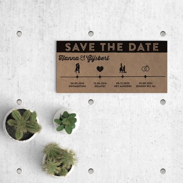 Save the date kaart Ticket met trendy tijdslijn, ingevuld met retro icoontjes. Het geheel wordt gedrukt op natuurlijk kraftpapier voor mooi vintage effect. Afbeelding toont voorkant van het kaartje.