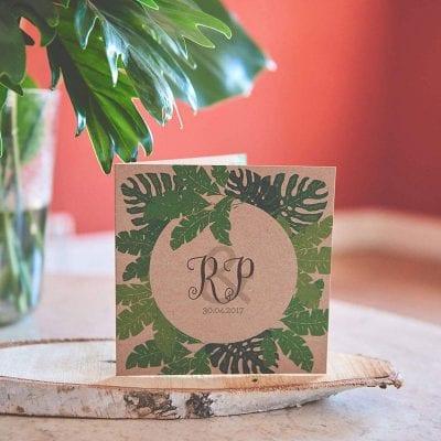 Trouwkaart Kraftpapier - Bladeren op Kraft - Secret Garden