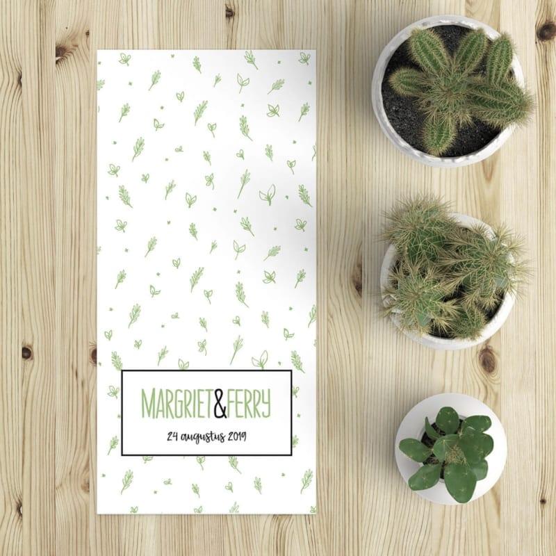 Een patroon van schattige blaadjes in een zachtgroene kleur vult de voorkant van trouwkaart Blaadjes.