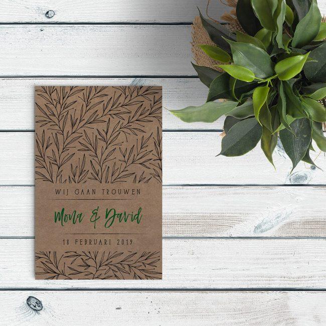 Het ontwerp van Trouwkaartje Trendy Takjes is modern en minimalistisch, gedrukt op ons prachtige kraftpapier zorgt dat toch voor een mooie vintage touch.