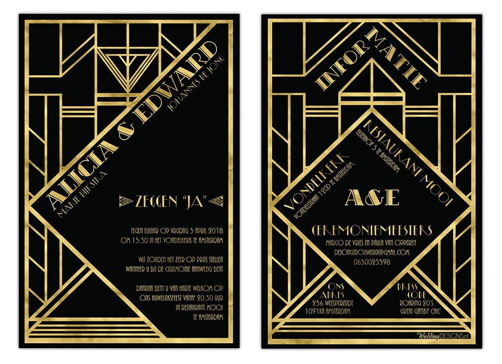 Trouwkaart Jaren Twintig is een Art Deco ontwerp met een prachtig frame en goud effect
