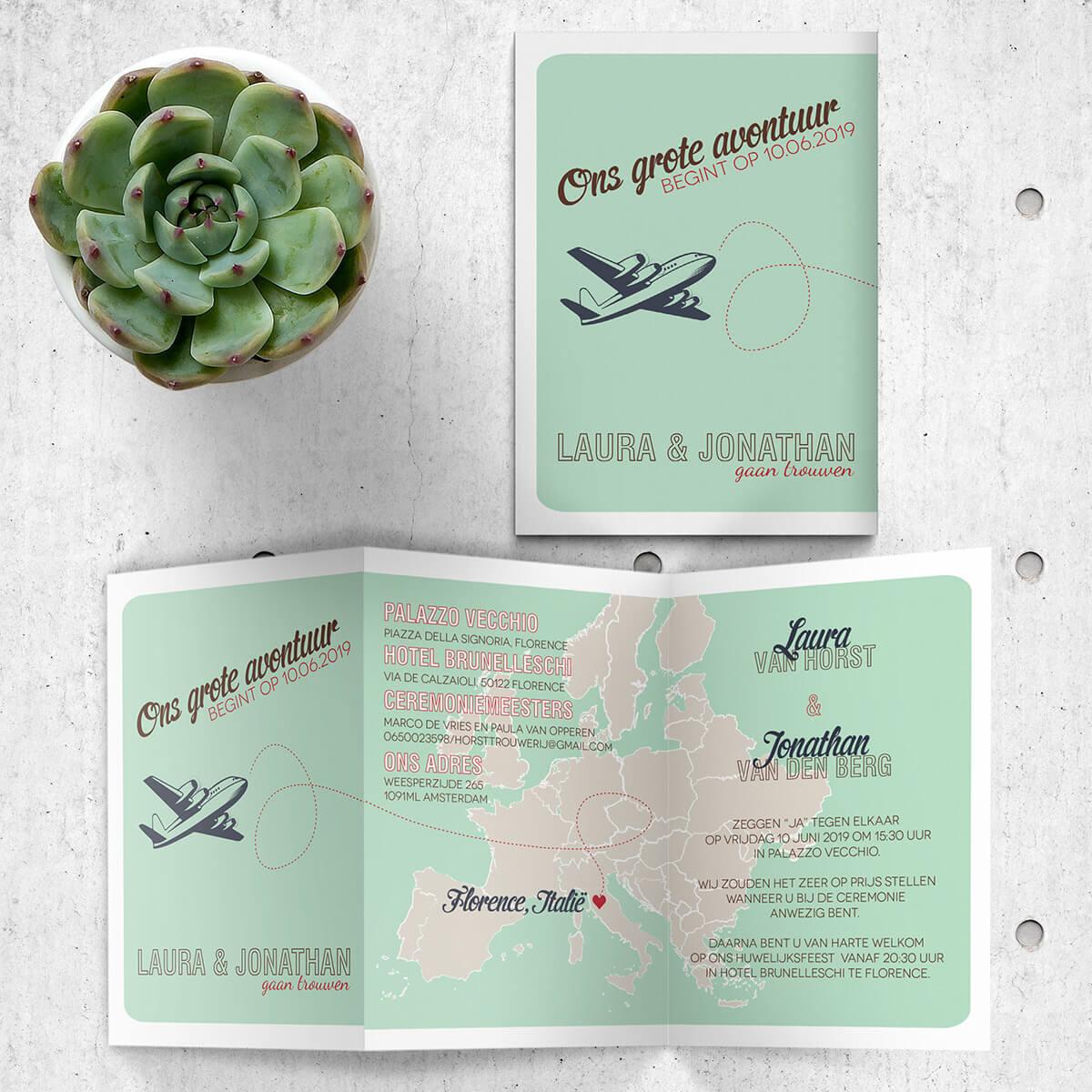 Gaan jullie trouwen op een bijzondere plaats in Europa, of houden jullie van reizen? Trouwkaart Landkaart Europa sluit hier goed op aan.