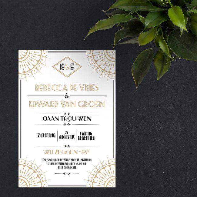 Trouwkaart Roaring Twenties is een stijlvol art deco ontwerp, voor bijvoorbeeld een Great Gatsby, jaren Twintig trouwfeest.