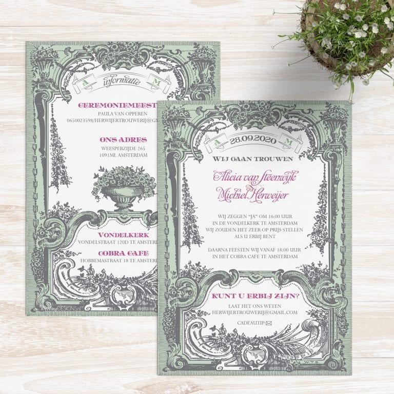 Art Deco trouwkaarten met prachtige, sierlijke motieven.