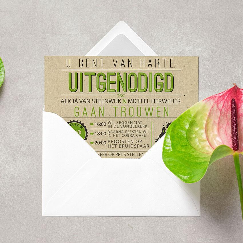 Vintage trouwkaart op paperwise papier - Trouwkaart Vintage Green