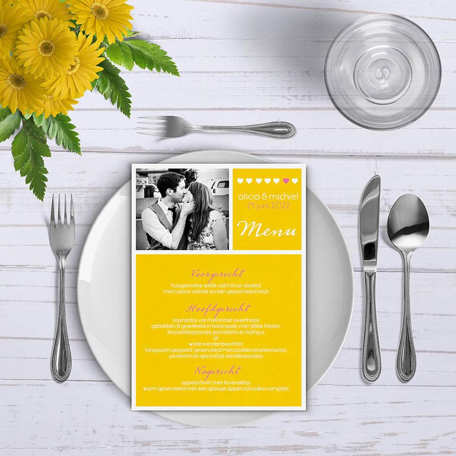 Trouwkaart Geel, dit is de bijpassende menukaart voor bij het trouwdiner.