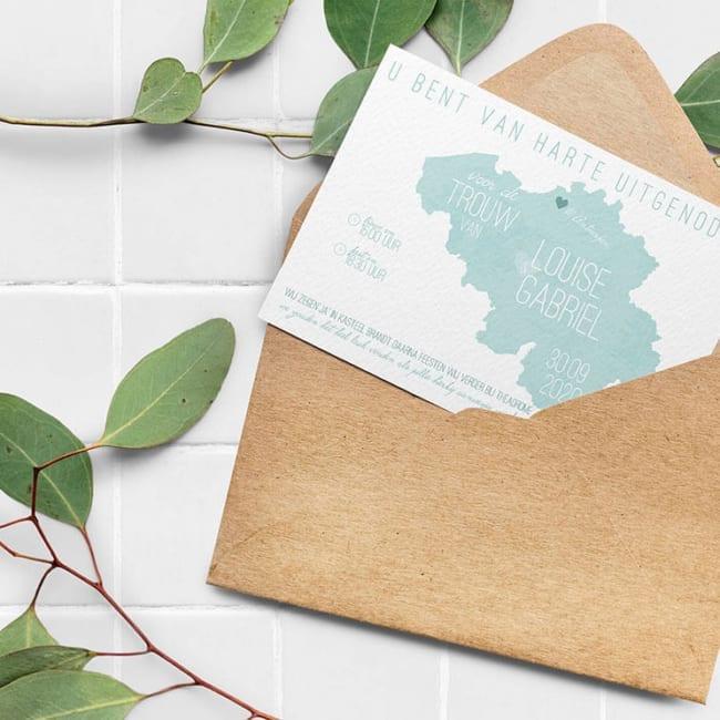 Trouwkaart Landkaart Nederland nu met Belgische versie. | Wanneer trouwkaarten versturen?