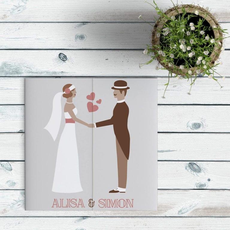 Trouwkaart Modern/Vintage Bruidspaar is vormgegeven in een retro stijl: het bruidspaar heeft leuke, ouderwetse, retro kleding aan. Modern en vintage.