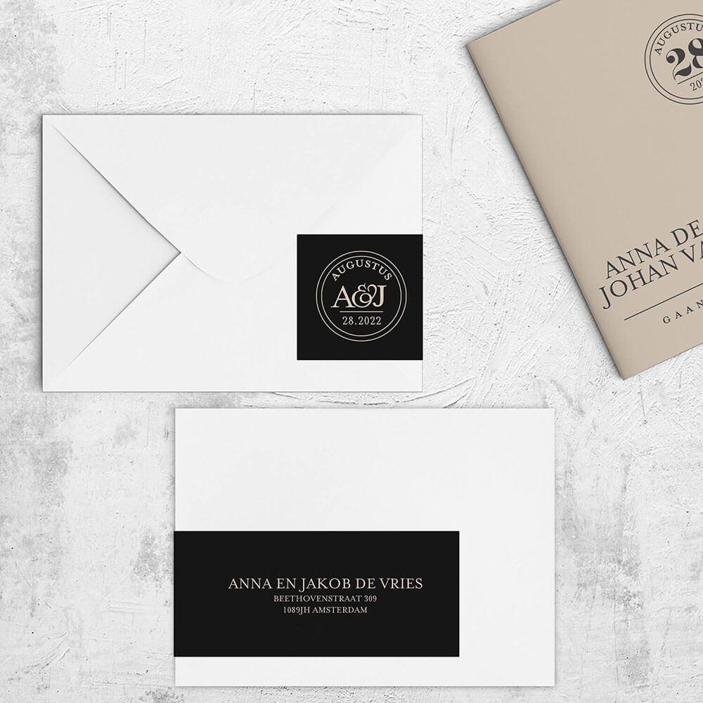 Trouwkaart Sjiek met een bijpassende adreslabel