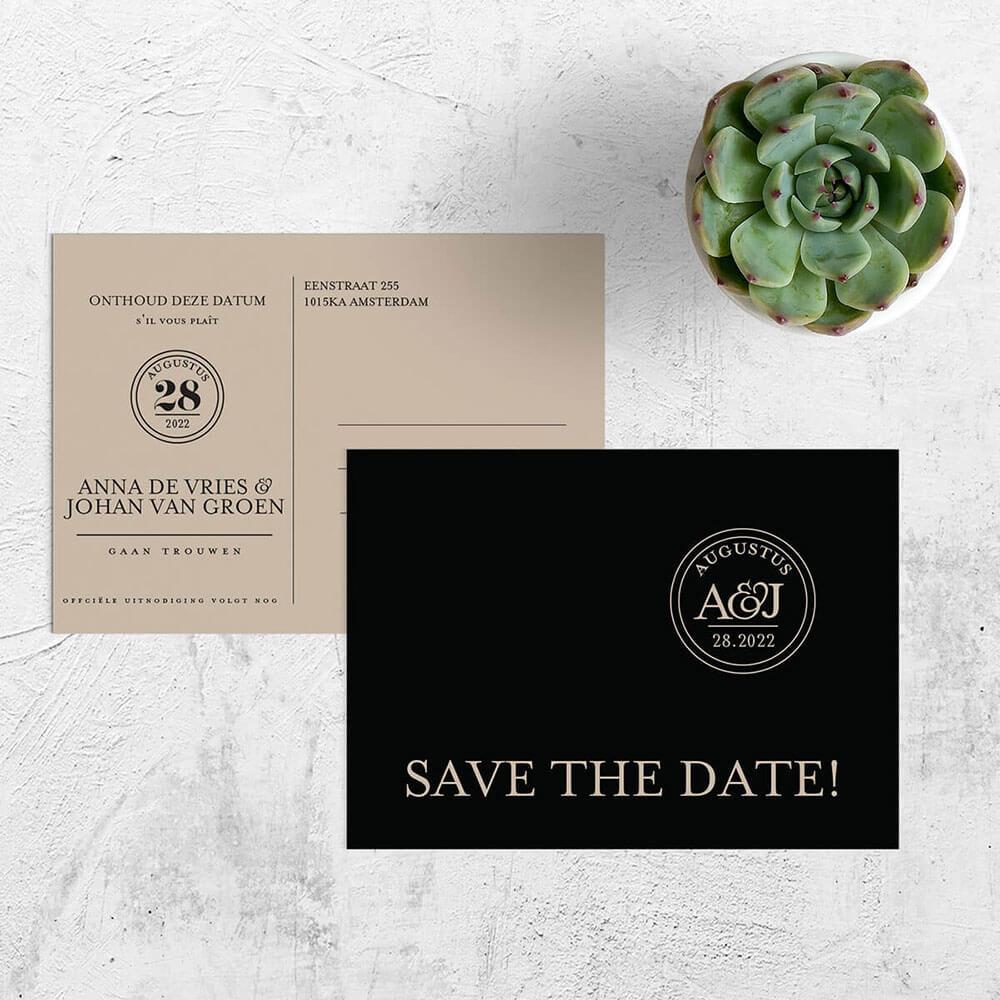 Trouwkaart Sjiek nu als luxe save the date kaart