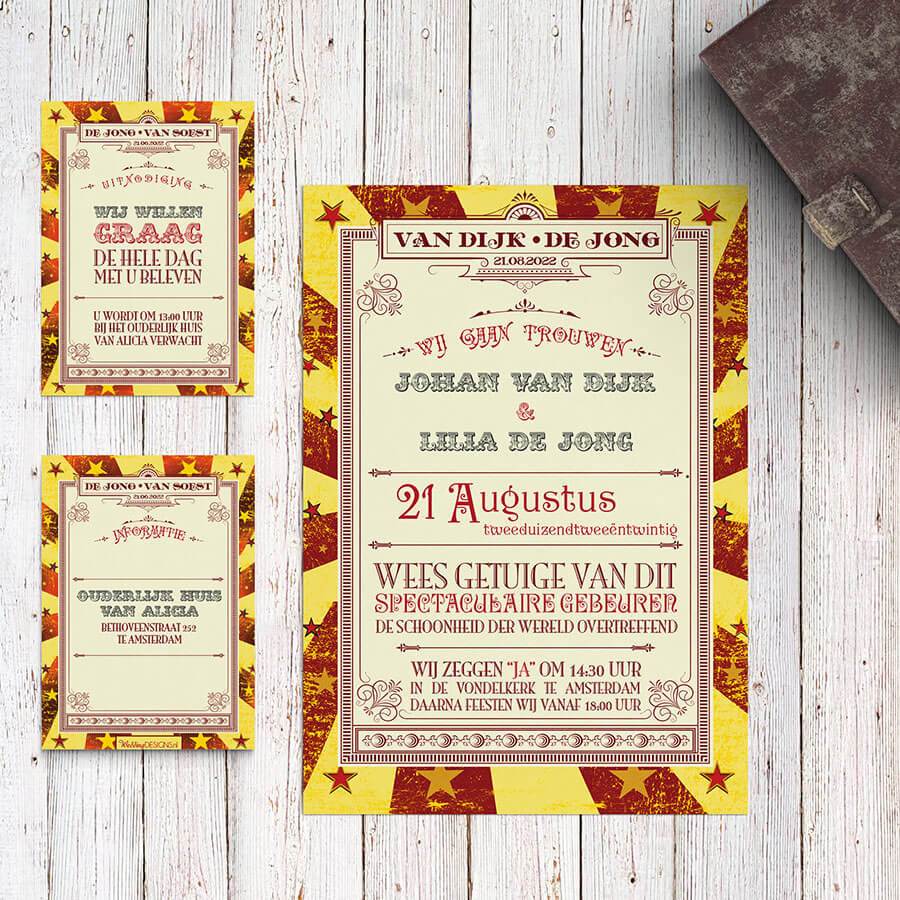 Trouwkaart Circus Ticket met klein kaartje voor extra informatie voor daggasten