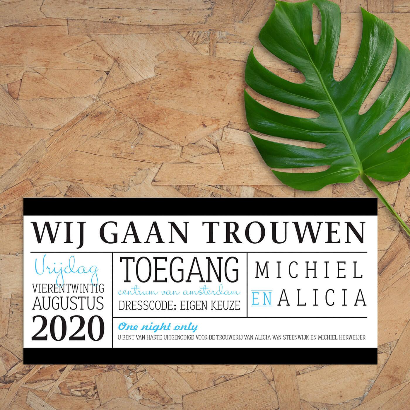 Trouwkaart Entreekaart is een concept kaartje, het is ontworpen als een modern en strak ticket. Witte achtergrond, zwarte tekst en lijnen, en blauw accent.