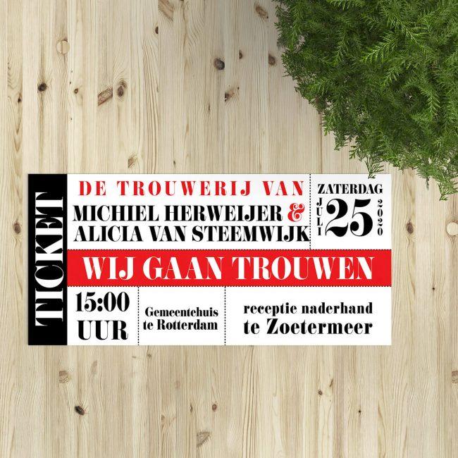 Trouwkaart Moderne Toegangskaart is een hip en strak kaartje in het stramien van een ticket. Lijkt op toegangskaart voor een theaterproductie of concert.