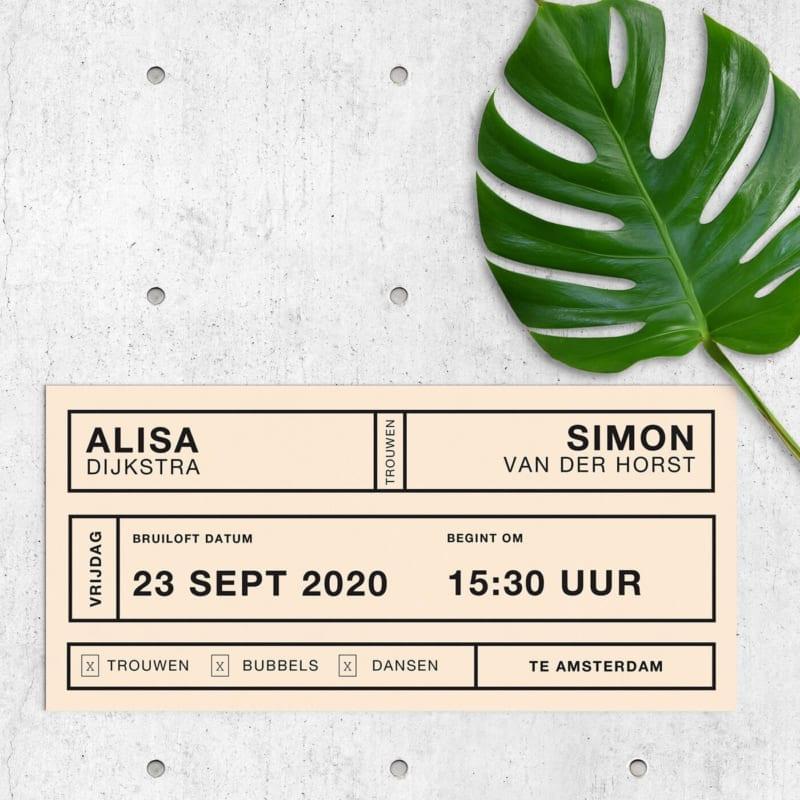 Trouwkaart Retro Modern Toegangsbewijs heeft een strak ontwerp met een retro insteek. Conceptueel, gebaseerd op idee van een toegangskaart.