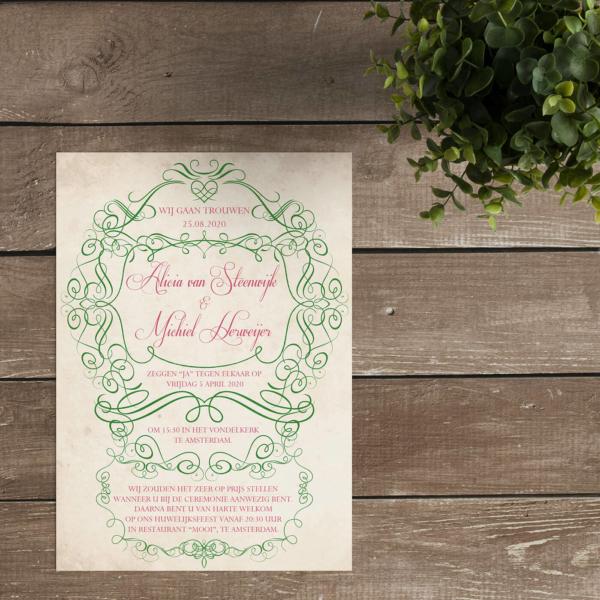 Trouwkaart Vintage Elegance - Prachtig sierlijke ornamenten zorgen voor versiering; bijzondere fonts