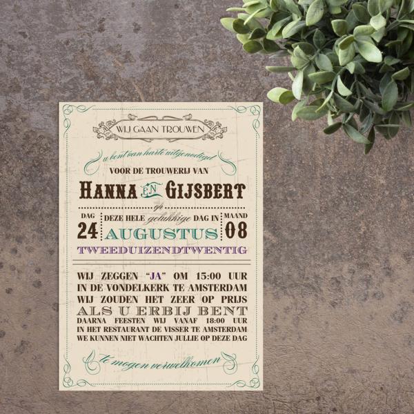 Trouwkaart Vintage Kaart is een gedetailleerd, vintage en typografisch ontwerp. Een retro achtergrond, veelkleurige tekst en mooie fonts.