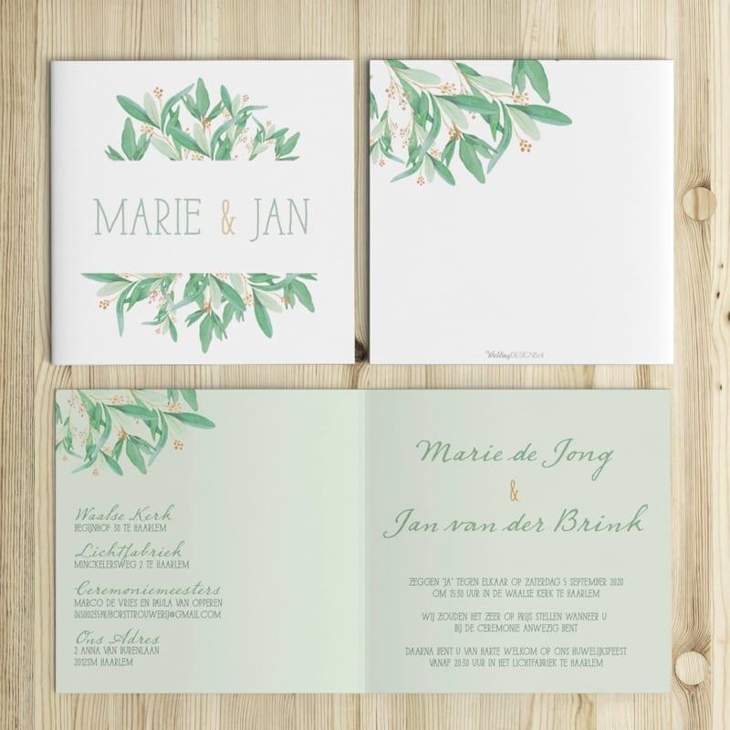 Trouwkaart Eucalyptus wordt gekenmerkt door de prachtige, handgeschilderde blaadjes en bloemetjes. Zachte, groene kleuren.