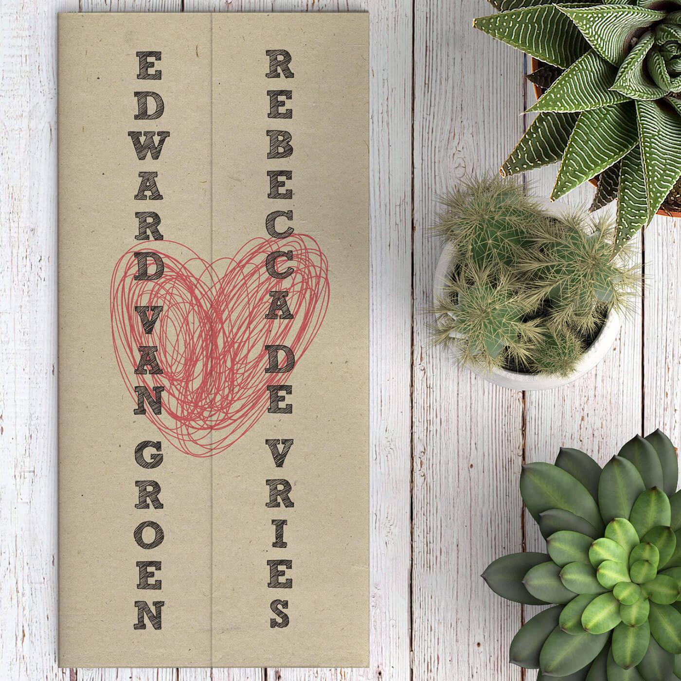 Trouwkaart Modern Vintage Hart combineert moderne en vintage elementen; gedrukt op het prachtige Paperwise papier, heeft het een mooie subtiele kleur.