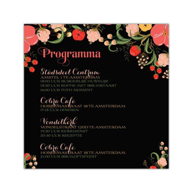 Dagprogrammakaart Bloemen is een interessant ontwerp met allerlei kleurrijke, gedetailleerde bloemen op een zwarte achtergrond.