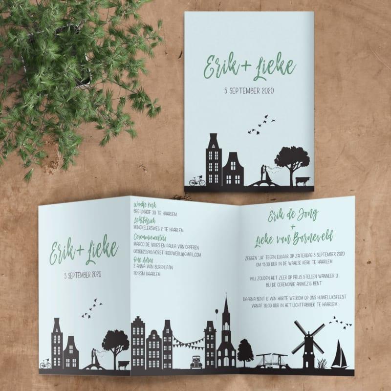 Trouwkaart Ode aan Nederland, een ontwerp met allerlei hollands elemente: windmolen, herenhuisjes, zeilbootje