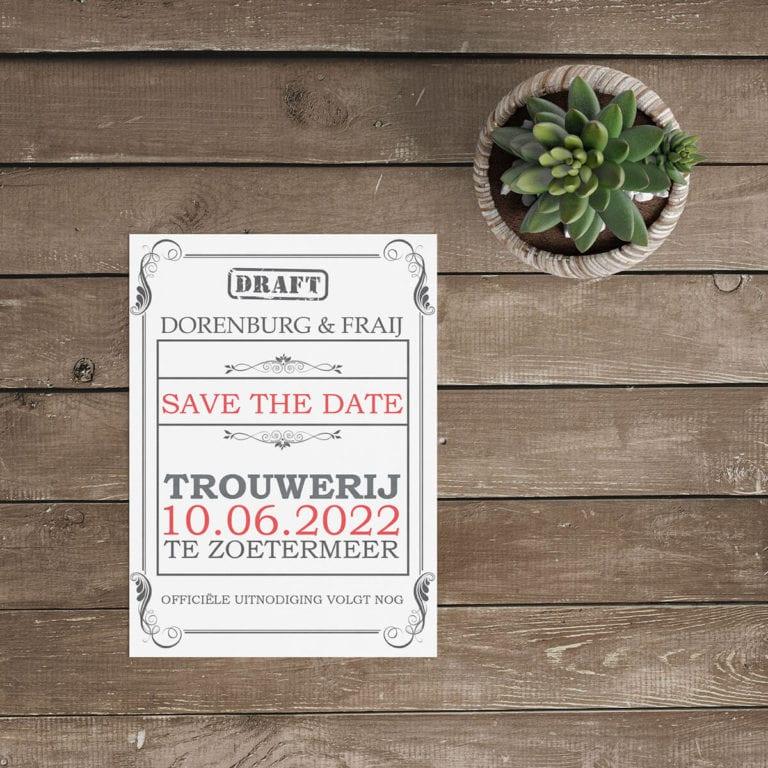 Save the date kaart Klassieke Toegangskaart is een leuk, conceptueel kaartje, vormgegeven als een soort ticket in klassieke stijl. Modern en speels.