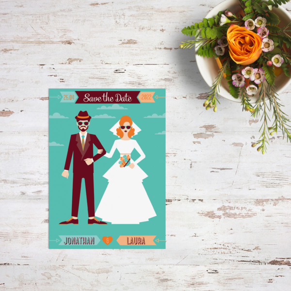 Save the date kaart Retro Hipster Bruidspaar is een ultiem statement: über retro, vrolijke kleuren en bruidspaar figuren ontworpen met een dikke knipoog.