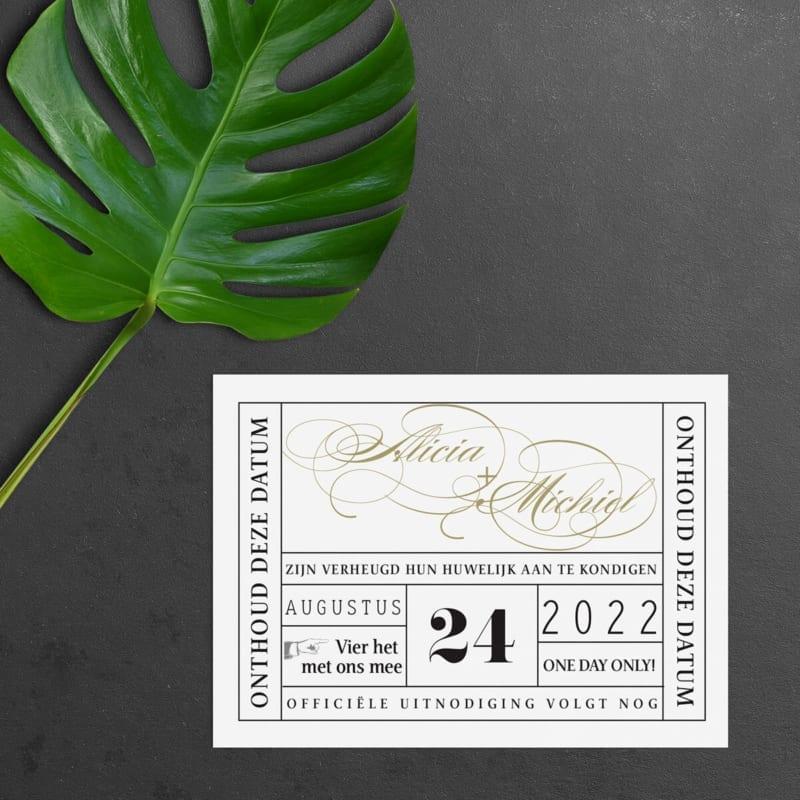 Save the date kaart Vintage Theaterticket is geïnspireerd door toegangskaartjes voor het theater: een gedetailleerd ontwerp, sierlijke en vintage invloeden.