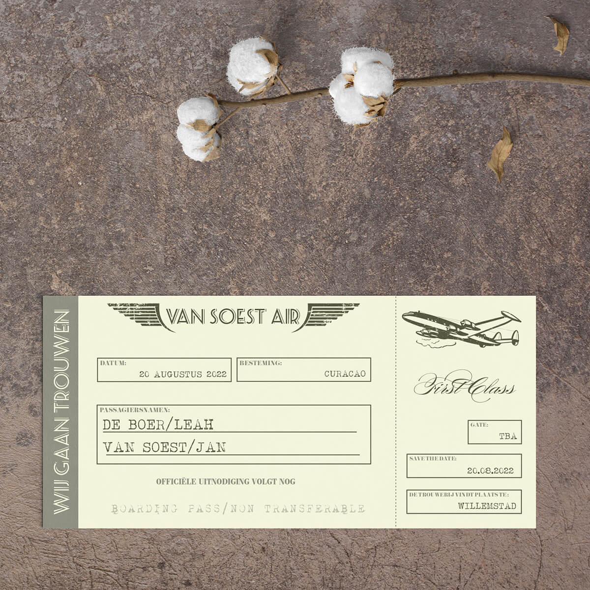 Save the date kaart Vintage Vliegtuigticket is een leuk, speels ontwerp, met een knipoog naar het concept van een vliegtuigticket. Vintage van stijl. Beige en grijs qua kleur.