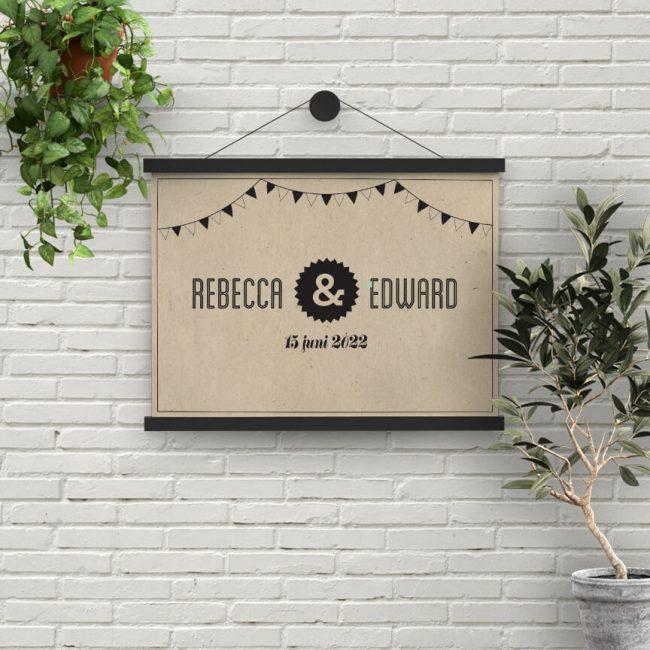 Poster Hipster Retro is helemaal ontworpen in de stijl van de gelijknamige trouwkaart, als prachtig aandenken aan de muur.