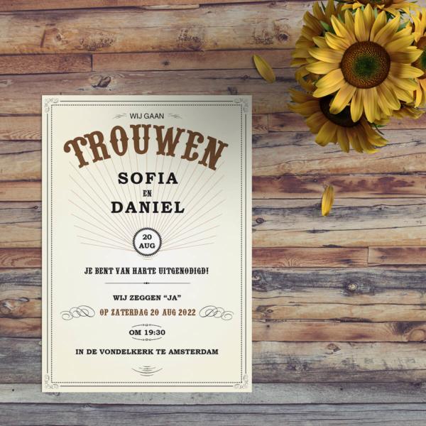 Trouwkaart Western & Vintage is een eenvoudig ontwerp met dat bijzondere western gevoel, opgeroepen door onder meer het mooie lettertype. Voorkant van de trouwkaart.