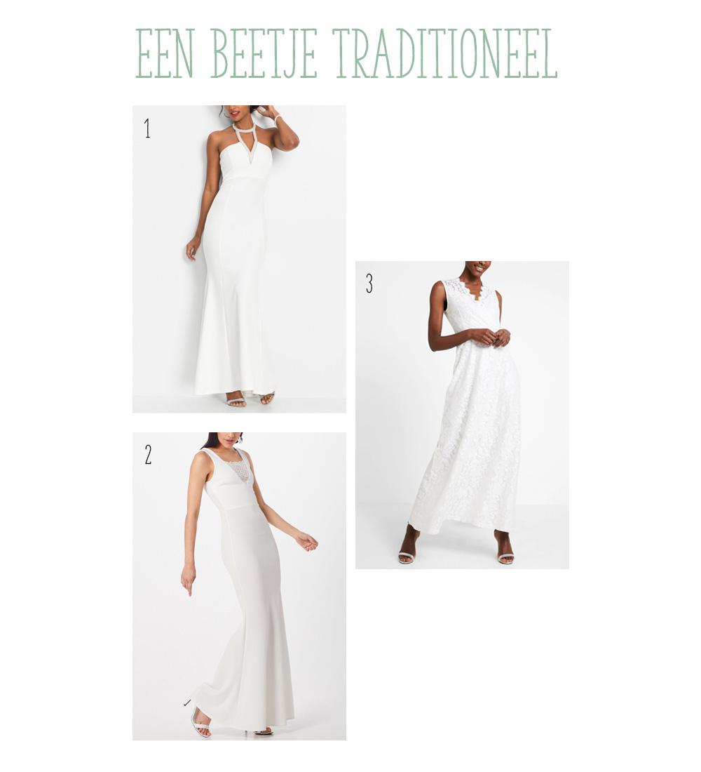 Trouwjurken onder de €50. Ga je trouwen met een klein budget? Kijk dan bij deze trouwjurken voor inspiratie. Traditionele stijl.