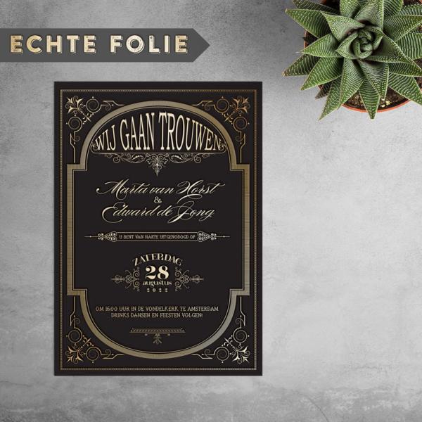 Voor het nieuwe jaar, 2020, hebben we een unieke update gemaakt voor de Great Gatsby trouwkaart: nu met echte 3D goudfolie!