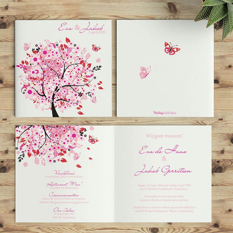 Grafische trouwkaarten met illustraties. Mooie, roze en vrolijke boom illustratie.