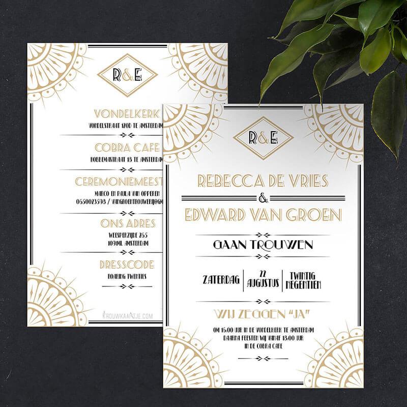 Klassieke trouwkaarten in art deco ontwerpstijl.